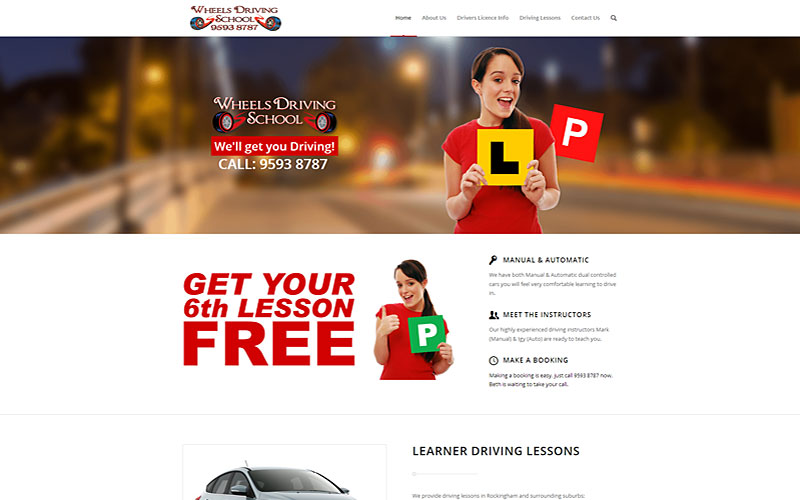 wheels-driving-school-website-design