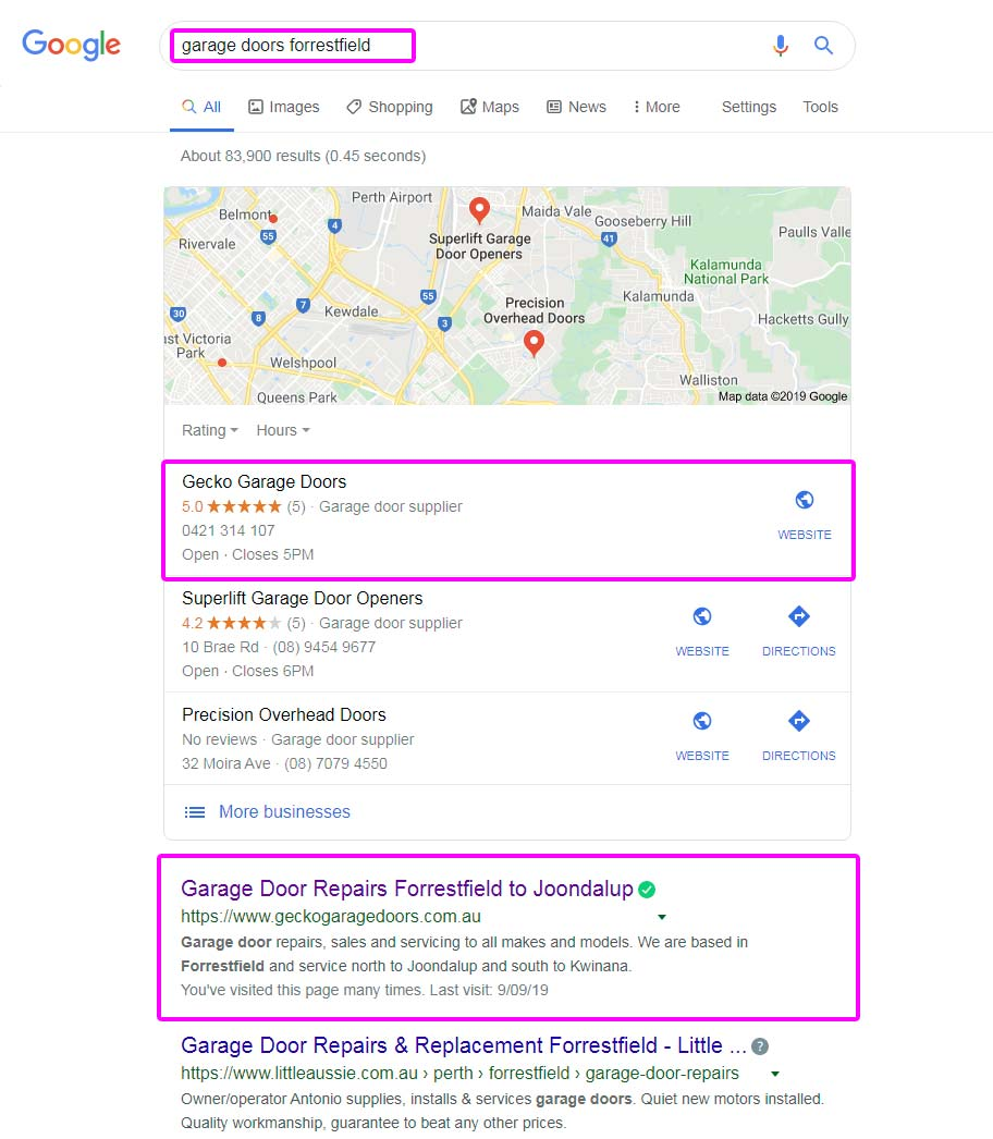 Google search page rank example showing website organic listings